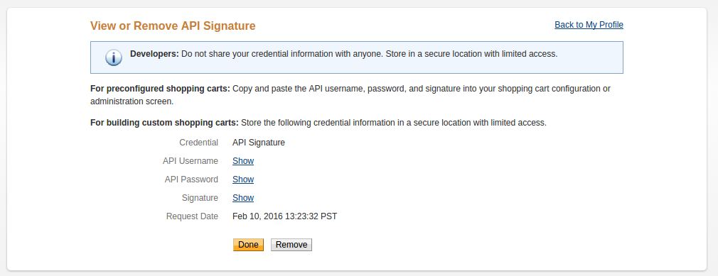 View PayPal API Credentials
