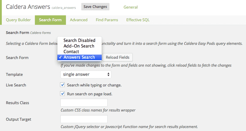 Settings for creating a Pods search using Caldera Easy Pods