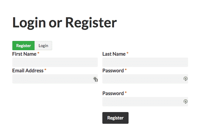 An example of a form using Caldera Forms Login and Registration Processors