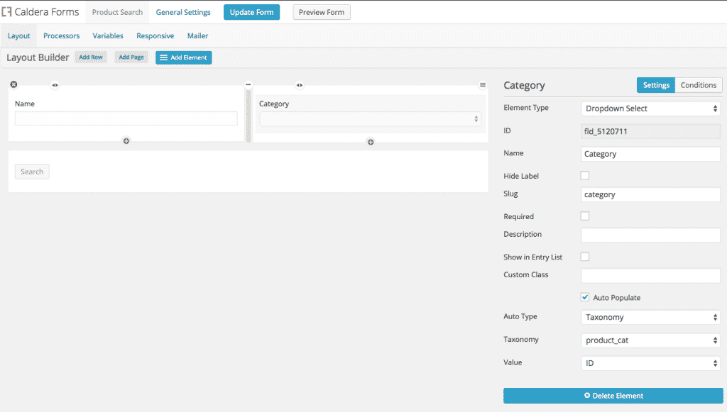 Creating A Caldera Form For A Product Search