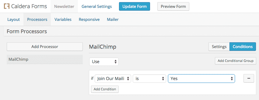 Showing how to use the processor conditionals to make MailChimp email list sign up optional.