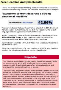 Example of the EMV Headline Analyzer