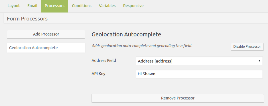 Caldera Forms Geolocation add-on Settings
