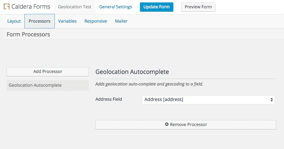 Geolocation Field For Caldera Forms Example Form Processor Setup