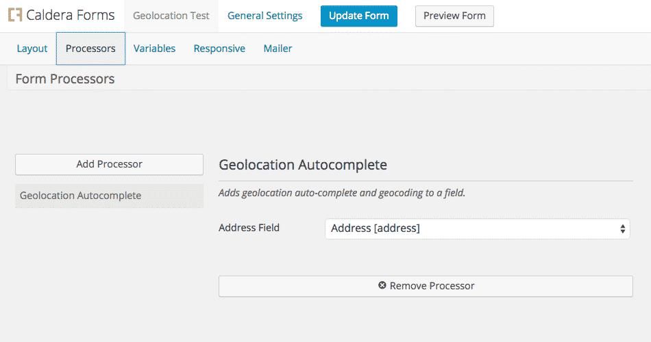 Geolocation Field For Caldera Forms Example Form Processor Setup