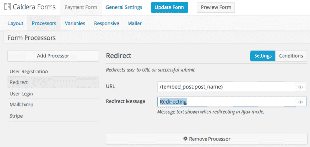 screenshot of the redirect processor used to refresh the page