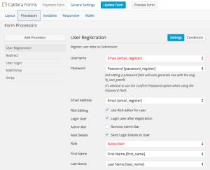 Screnshoot of field for registration procesor