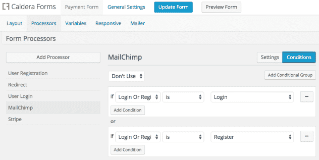 Screenshot showing MailChimp Processor Conditionals