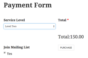 This is a screenshot of the finished WordPress one page checkout