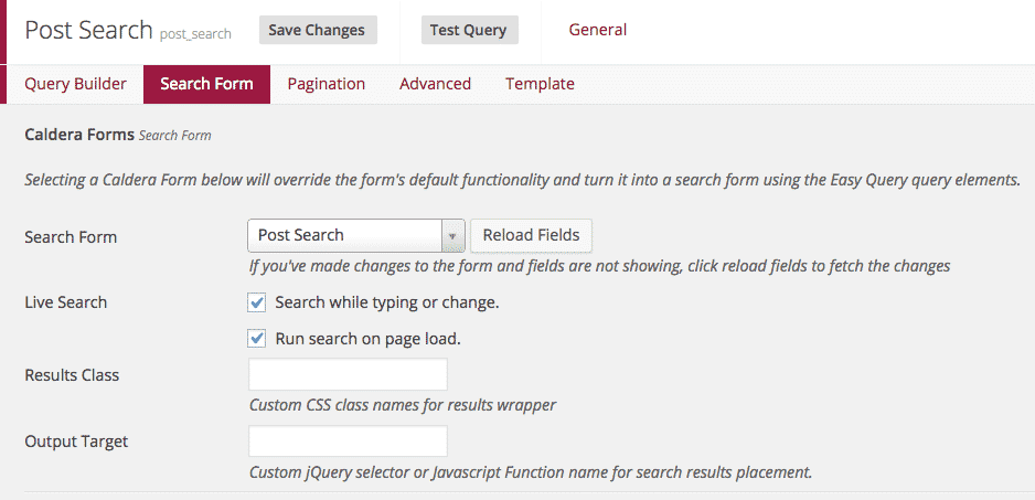 Easy Queries Search Panel