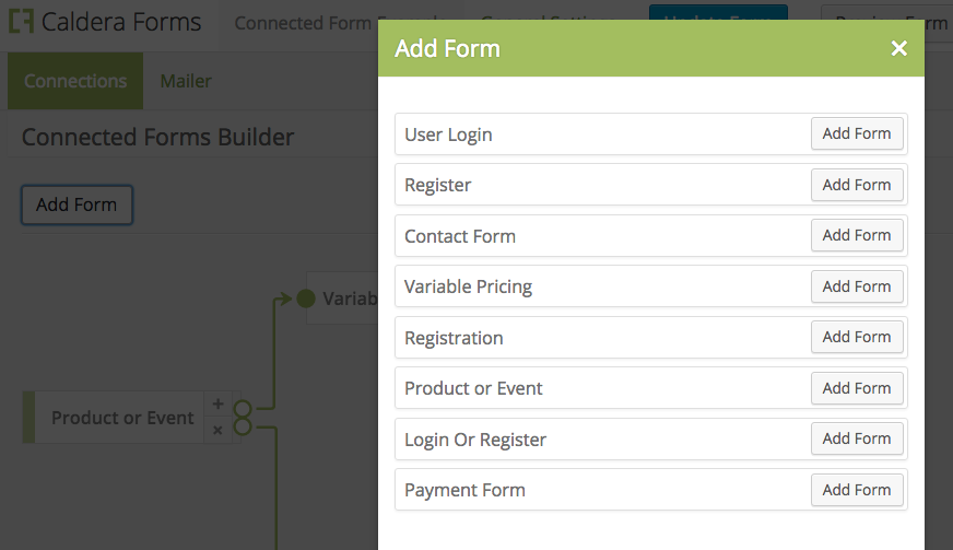 Add form to connected form sequence