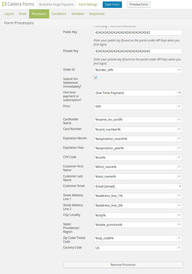 Setting up BrainTree for Caldera Forms to accept one time credit card payments on your WordPress site