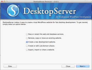 Creating A Site With DesktopServer