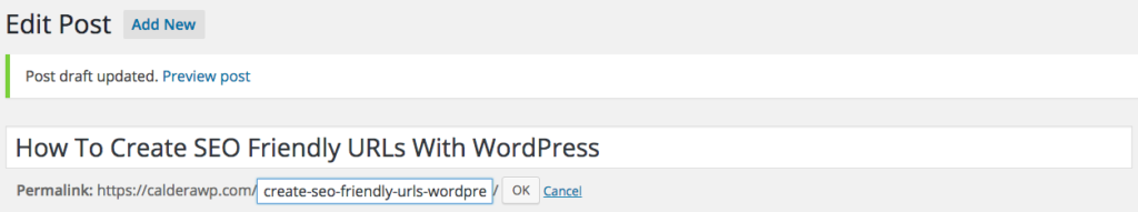 Editing the WordPress post slug to ensure It contains target keywords