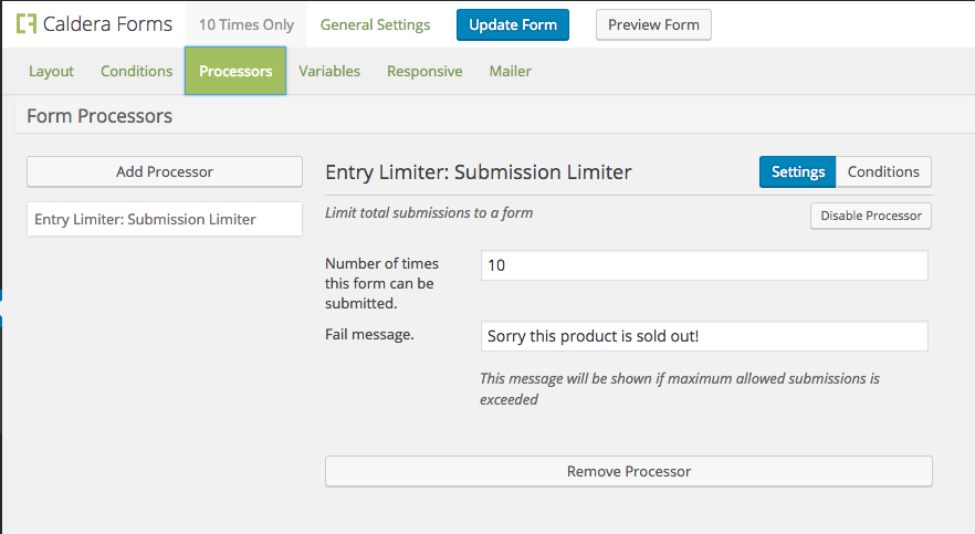 Limit the number of times a form can be submitted with Caldera Forms entry limiter