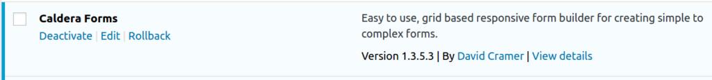 Using WP Rollback to upgrade or downgrade Caldera Forms -- step 1