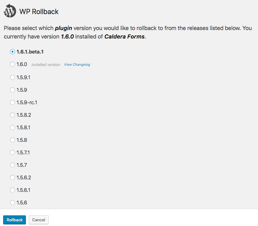 Using WP Rollback To Install The Latest Beta Of Caldera Forms