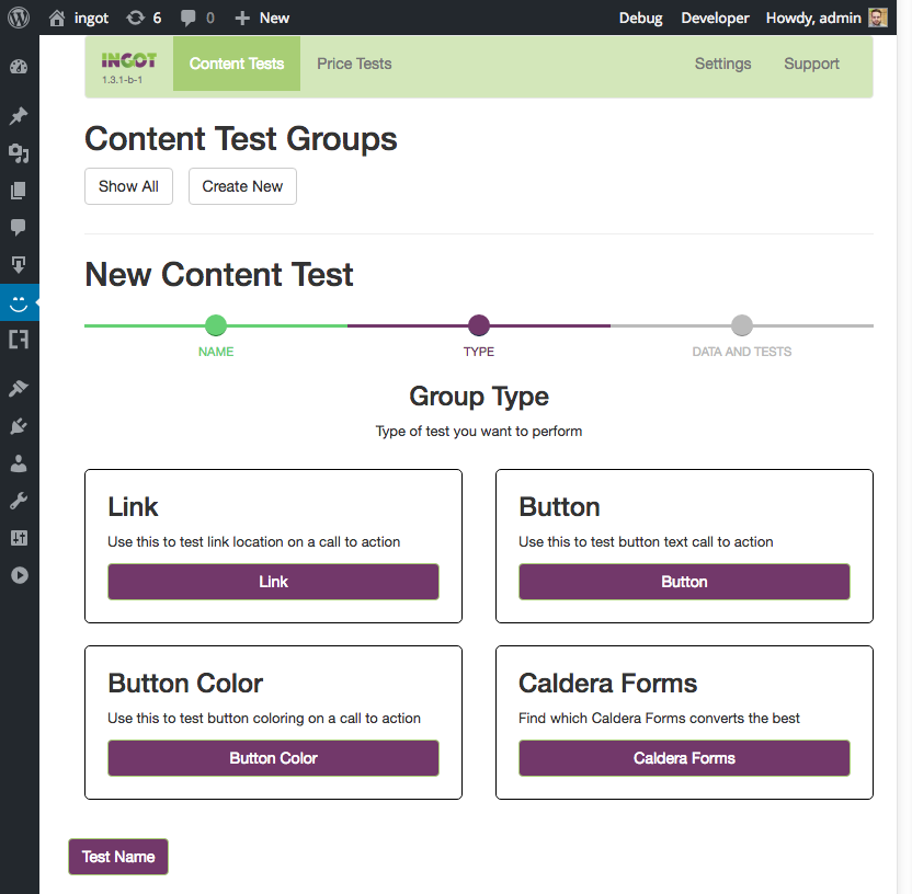Creating a WordPress form A/B test with Ingot and Caldera Forms