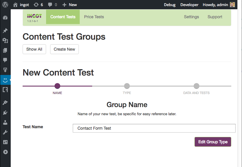 Creating a WordPress contact form A/B test with Ingot and Caldera Forms