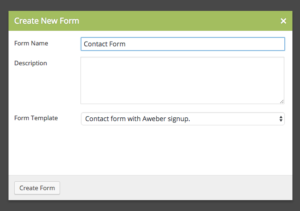 Aweber template form Caldera Forms