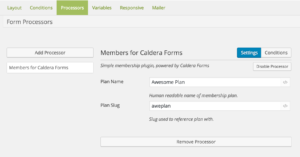 Configuring The Caldera Forms Members Processor
