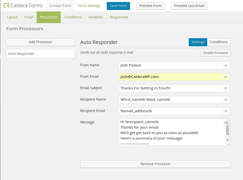 Caldera Forms Auto Responder processor