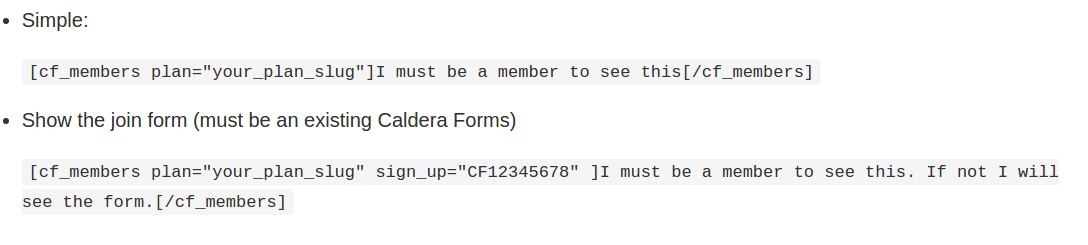 Examples of the Caldera Forms Members shortcode