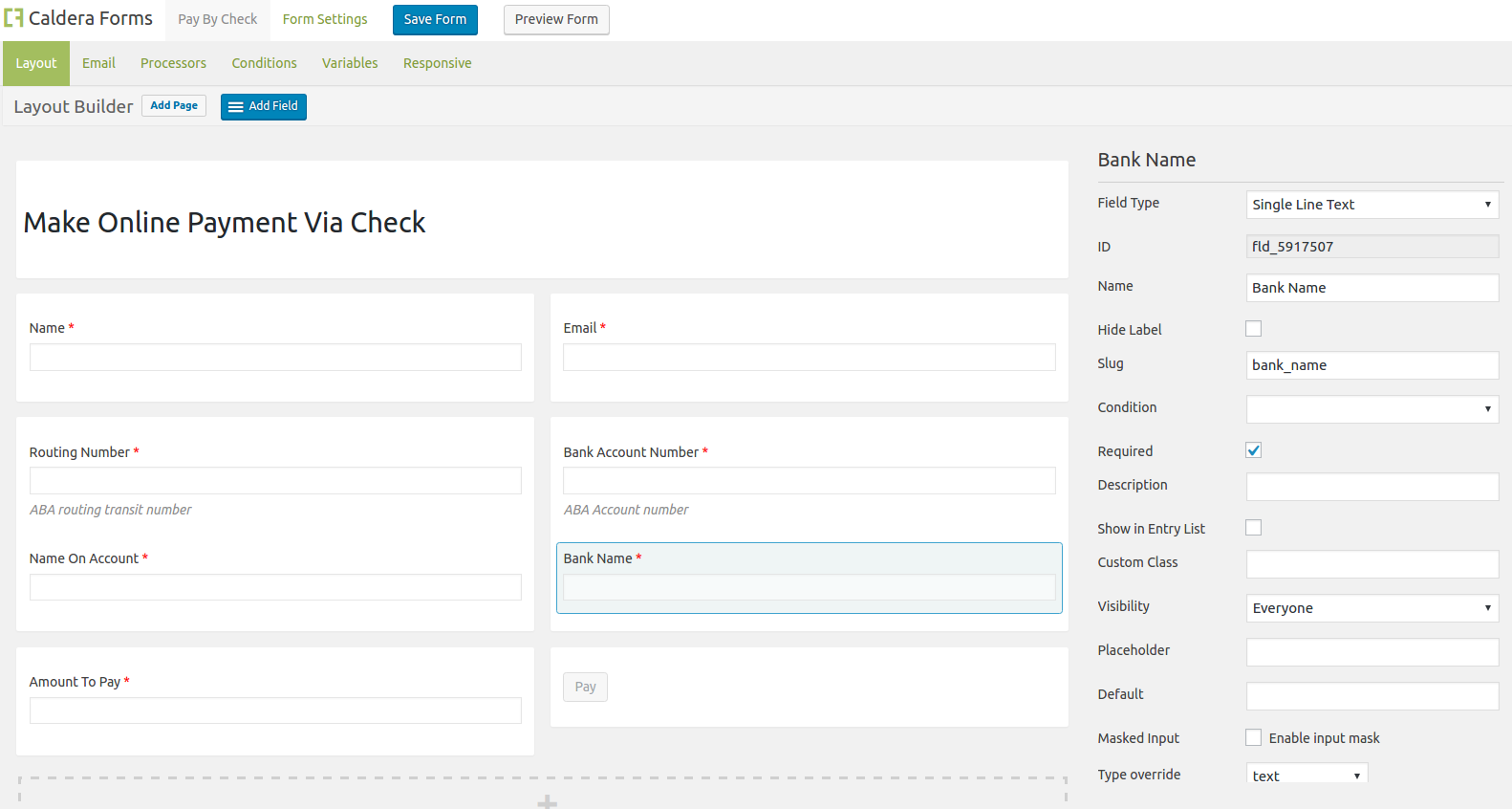 The form layout created using using Caldera Forms for Authorize.net eCheck template