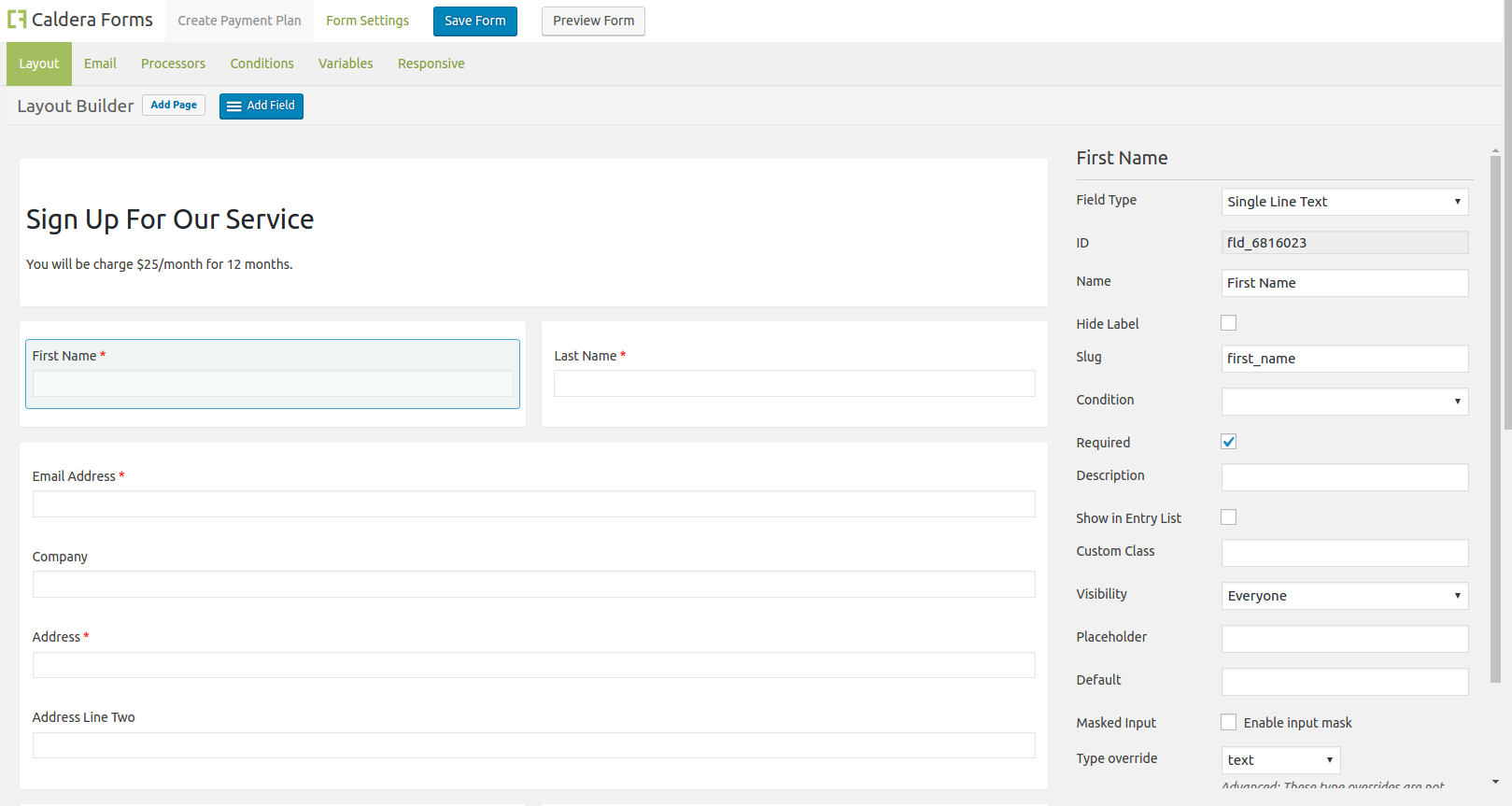 Form layout for the template of the recurring payment plans for Authorize.net and Caldera Forms.