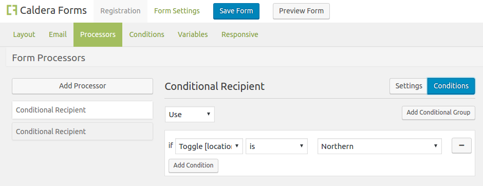 Caldera Forms Conditional Recipients Processor