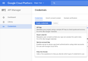 Create Google Maps Credentials