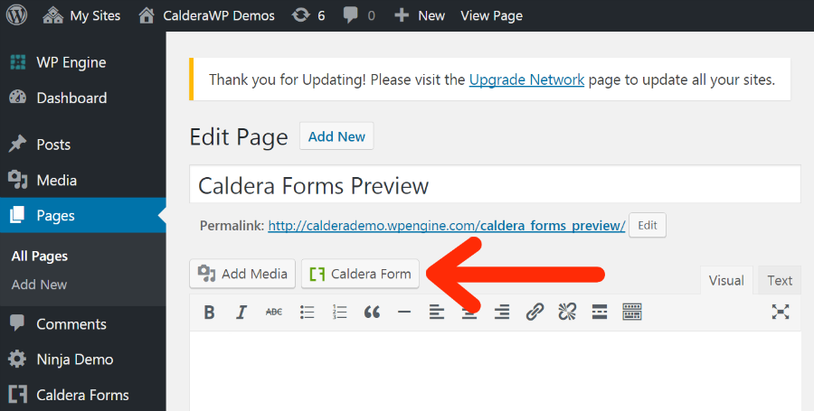 Automatically add a form to a Page or Post