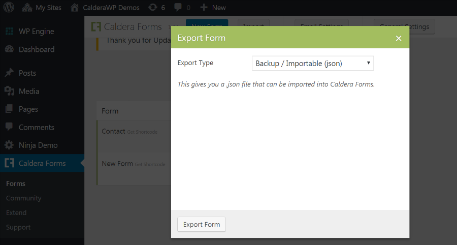 Getting Started: Exporting And Importing A Form | CalderaWP