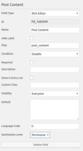Settings For Caldera Forms Rich Editor WYSIWYG field