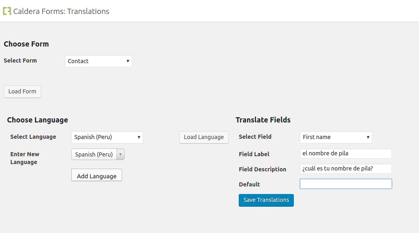 Translating form fields with Caldera Forms