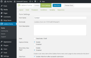 Configuring Caldera Form Settings