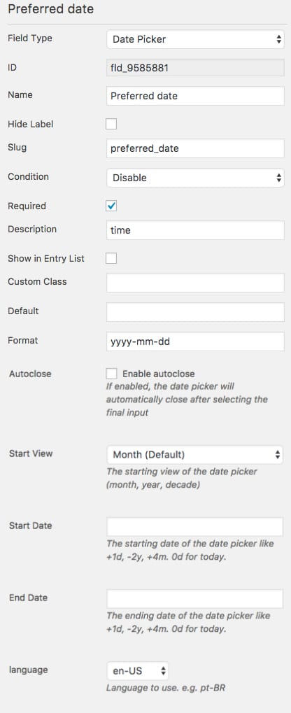 Date Picker Field - WordPress Form Builder | Caldera Forms