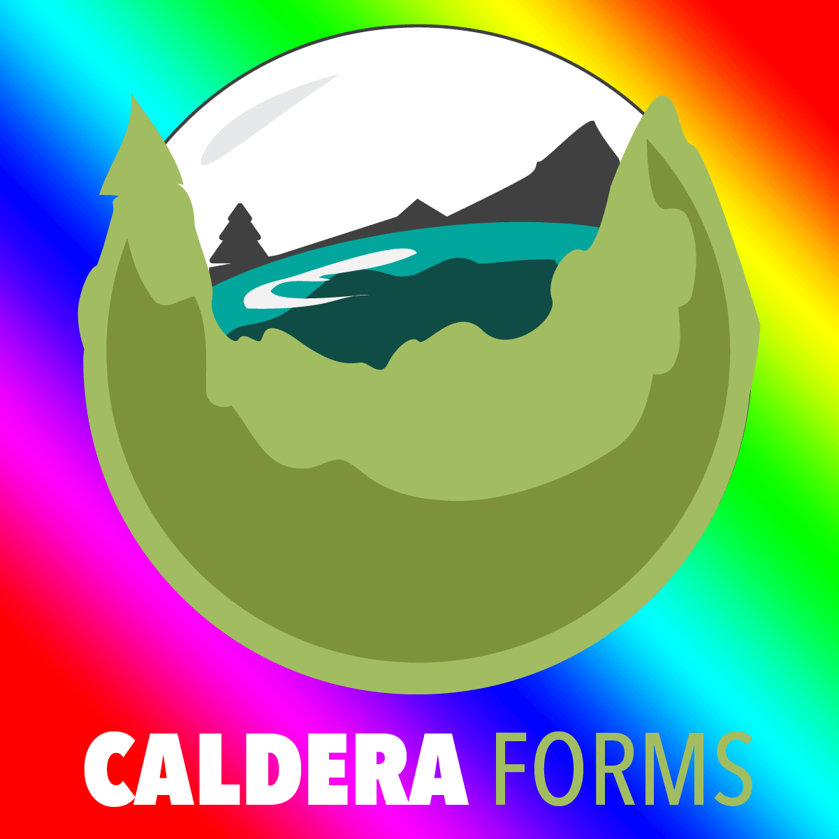 The Caldera globe logo with the words Caldera Forms below it and a rainbow background