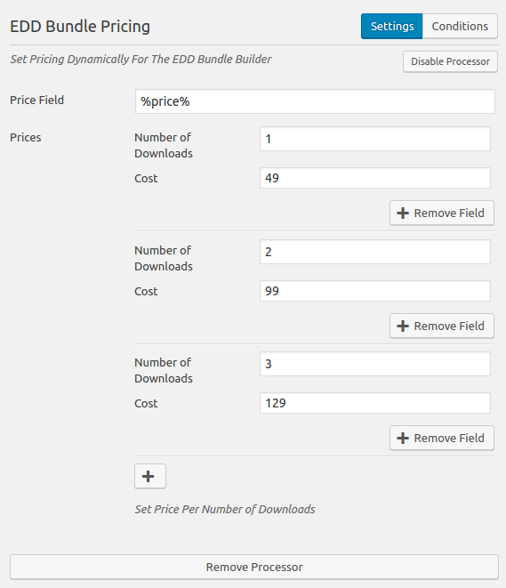 Caldera Forms Easy Digital Downloads Bundle Pricing Processor Settings