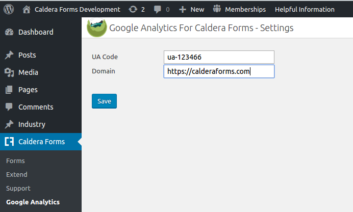 Caldera Forms Google Analytics Global Settings