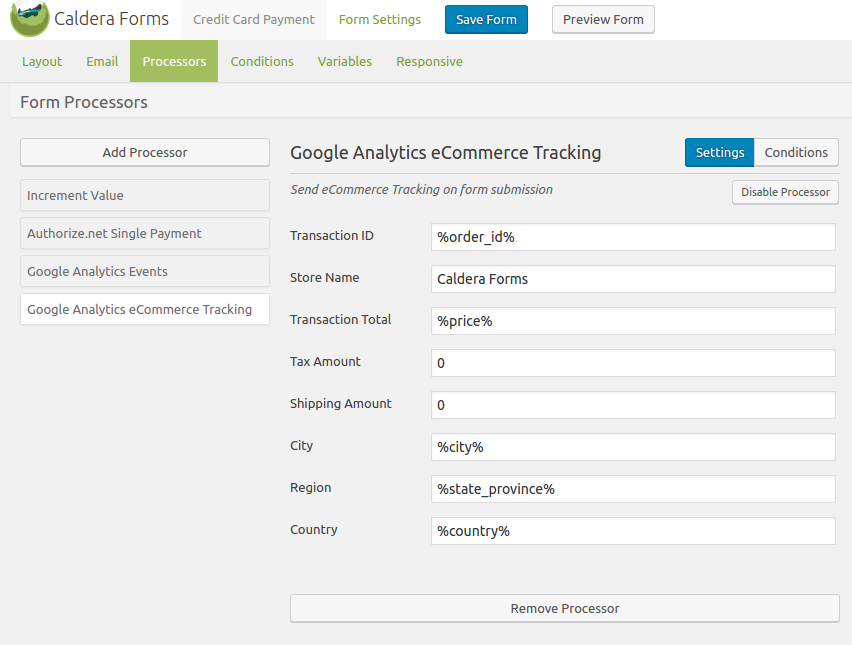 Caldera Forms Google Analytics eCommerce Tracking Setup