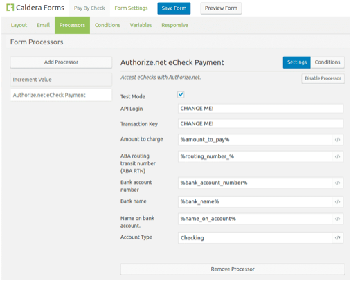 A screenshot of the Caldera Forms UI when setting up recurring payments.