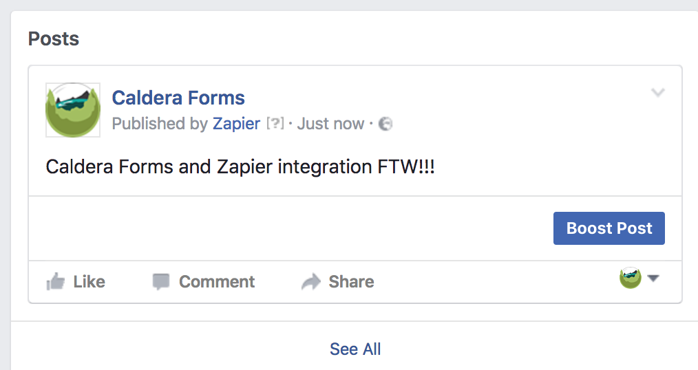 An example post of a Facebook Status made from a Caldera Form.