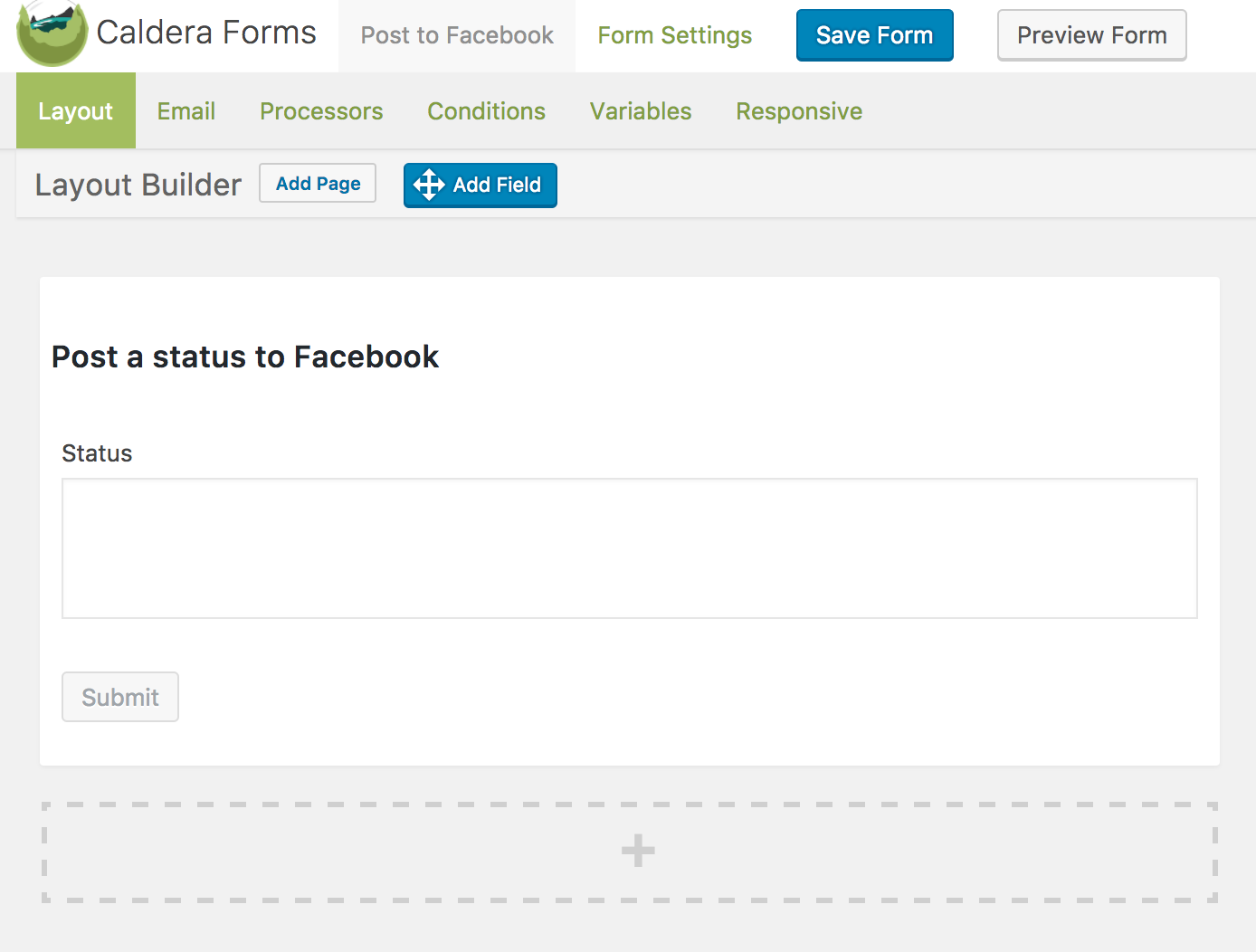 Caldera Form example for posting a status to Facebook with Zapier add-on.