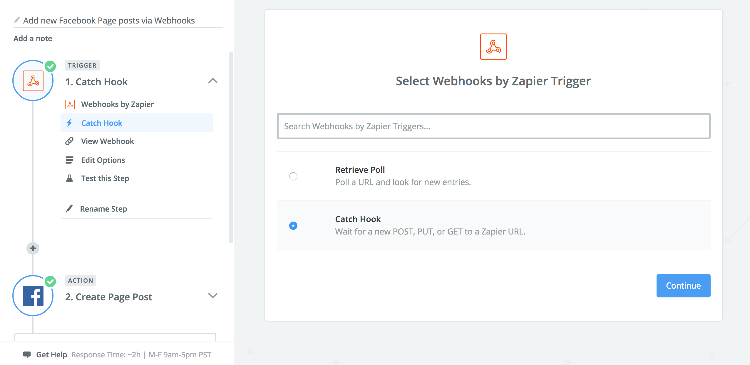A screenshot of settings to catch a webhook in Zapier.