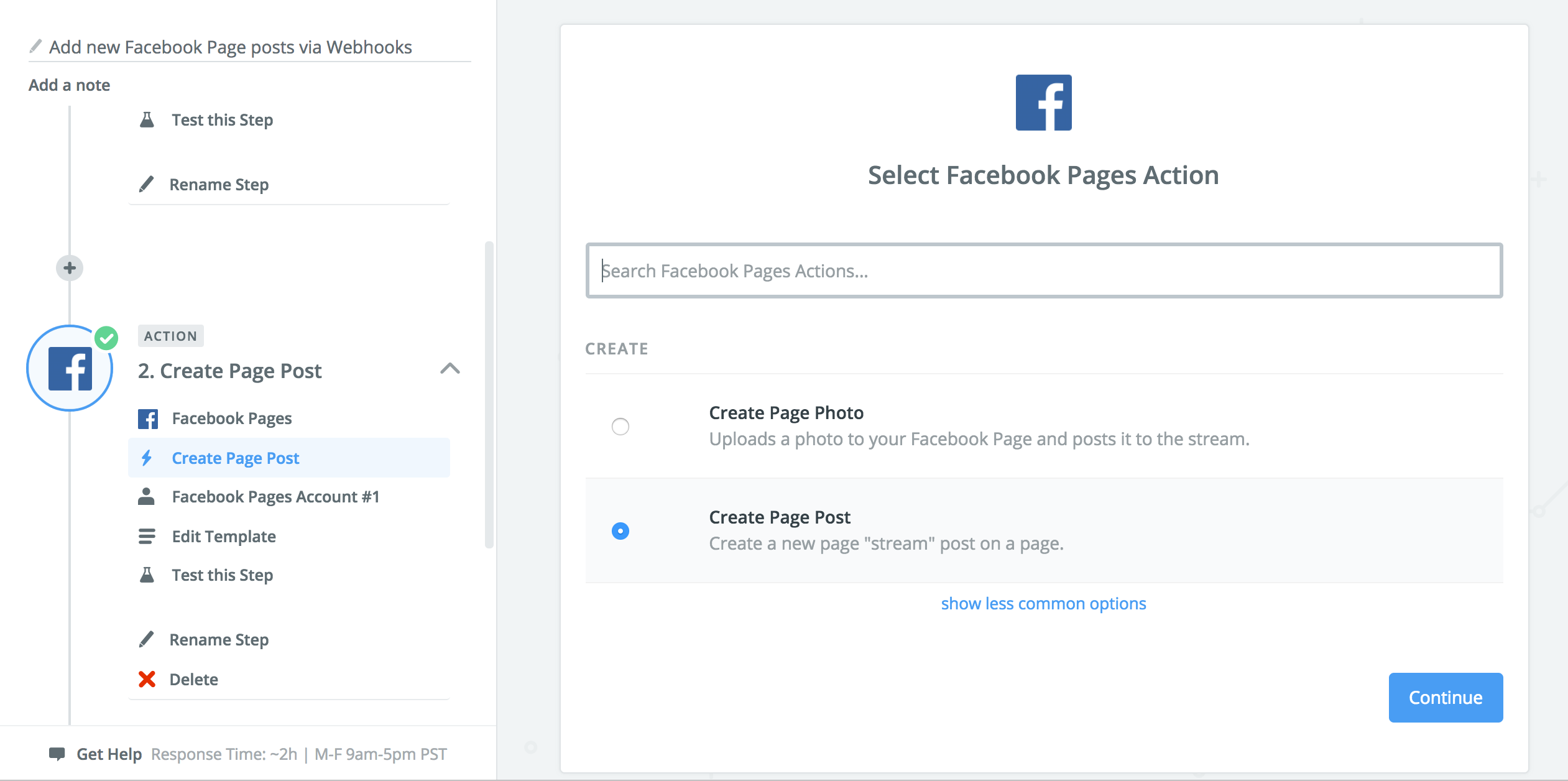 A screenshot to set what happens in Facebook when the Zapier trigger is fired.