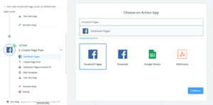 A screenshot of a user select Facebook Pages as an action.
