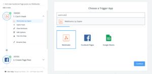 Screenshot of selecting a webhook as a trigger in Zapier.