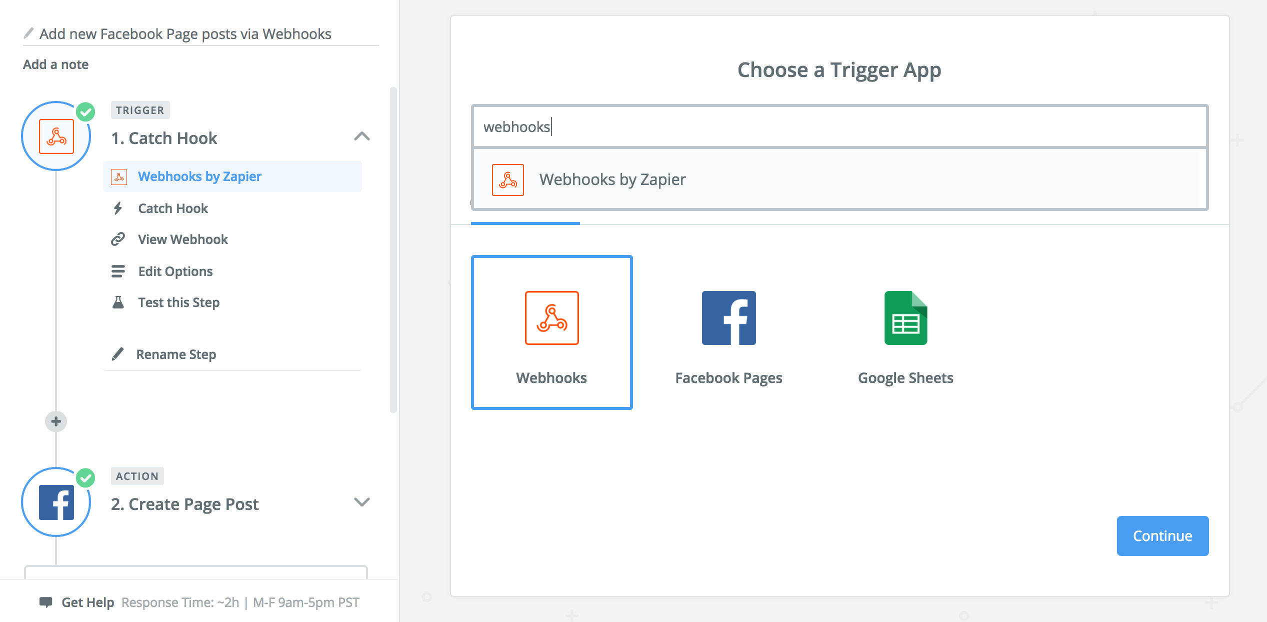Screenshot of selecting a webhook as a trigger in Zapier.