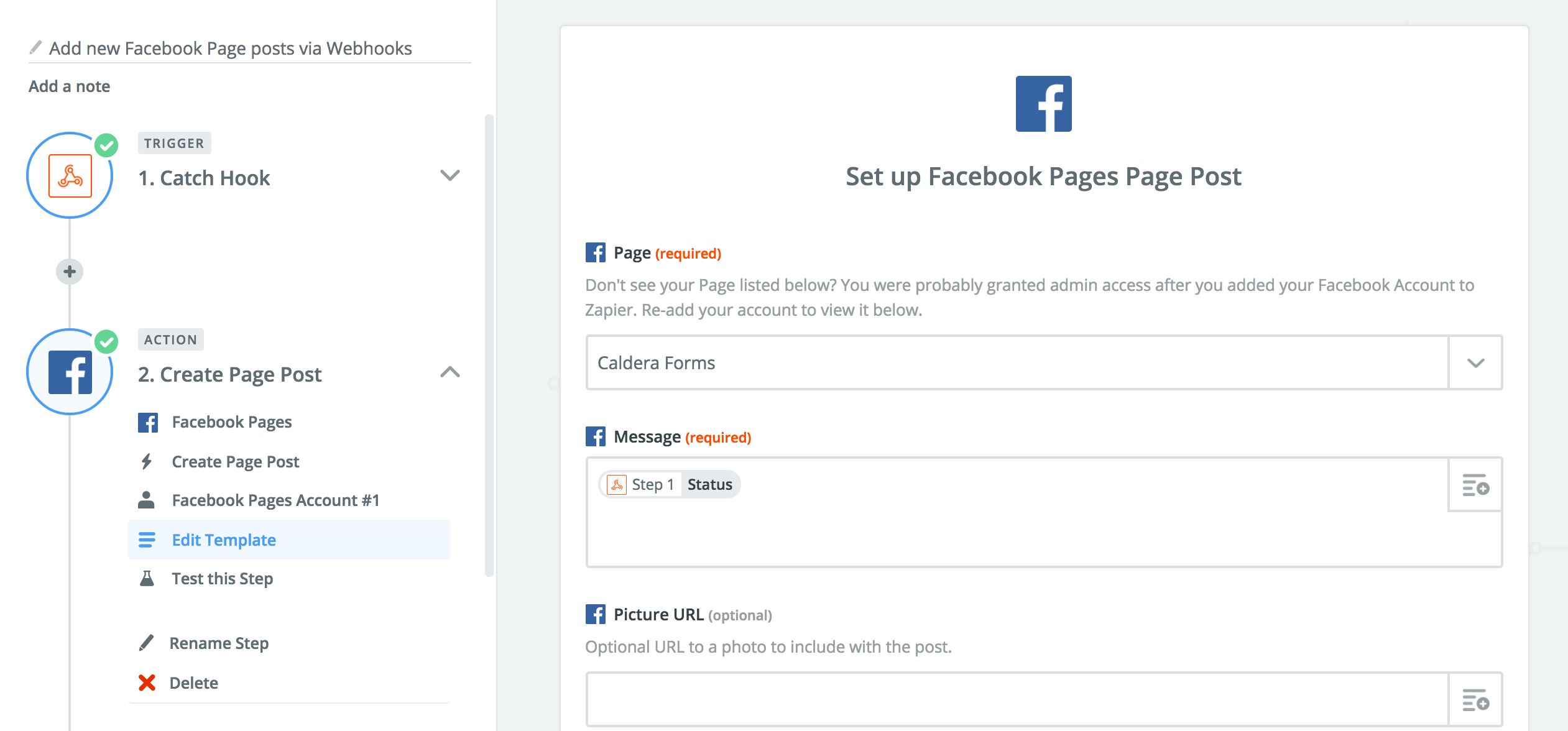 Example of how to add webhook data to Facebook action.